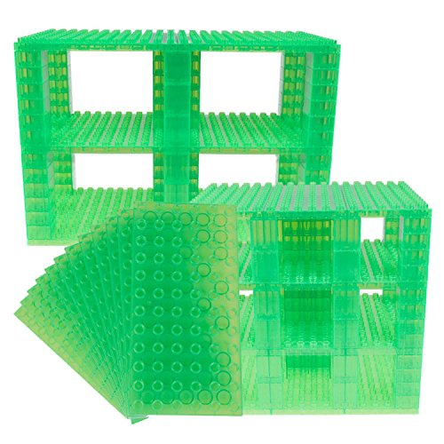 Strictly Briks Classic Big Briks 96 Piece Set 100% Compatible with All Major Brands   Tower Construction   Large Pegs for Toddlers   Ages 3+   Building Bricks & Baseplates   Clear Green