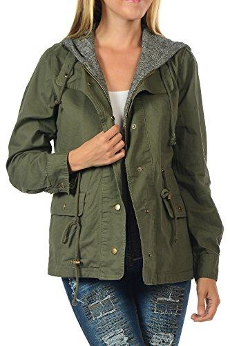 YourStyle Versatile Military Lightweight Anorak Drawstring Parka Jacket (X-Large, YS045-Olive)