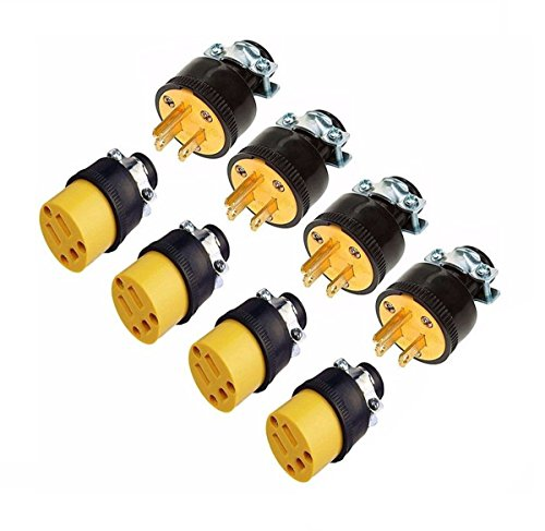 Male Cord End (LIPOVOLT 8 Extension Cord Replacement Ends 4 MALE 4 FEMALE Plug Electrical Repair)