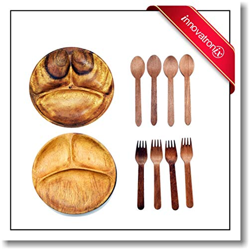 Innovatronix 2 Pieces Handmade 9 Inches Acacia Wooden Plate With 3 Compartments - 9 Inches Diameter - Plate with 3 Sections - FREE 6 Pairs Of Wood Disposable Wooden Spoon ()