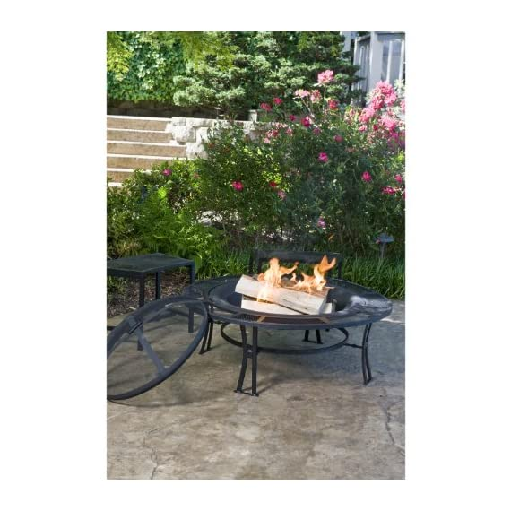 CobraCo Steel Mesh Rim Fire Pit and Two Bench Set with Screen and Cover FB6400-750 - Sturdy steel frame with powder coated black finish 5-Inch wide mesh screen table edge Two individual seating mesh benches included - patio, outdoor-decor, fire-pits-outdoor-fireplaces - 51%2BfHgQcGFL. SS570  -