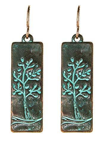 Etched Patina Dangle Earrings - Etched Dangle