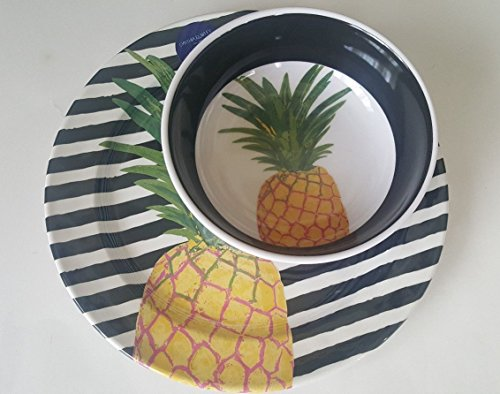 Cynthia Rowley Pineapple Melamine Dinner Plates and Bowls Dining Set 8 pc Tropical Beach Stripe Black, White, Yellow