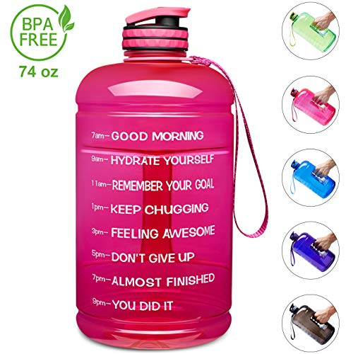 Venture Pal Large 1 Gallon/128 OZ & 74 OZ Motivational Leakproof BPA Free Water Bottle with Time Marker Perfect for Fitness Gym Camping Outdoor Sports-74oz-Pink