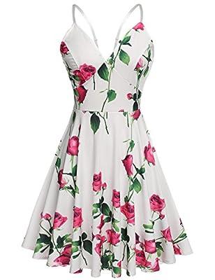 Zeagoo Women's Deep V Neck Backless Spaghetti Strap Summer Short Dress