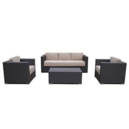 Abba Patio 4 Pcs Outdoor Brown Wicker Patio Furniture Set Garden Lawn Sofa  with Cushioned Seat - Amazon.com: Abba Patio 4 Pcs Outdoor Brown Wicker Patio Furniture