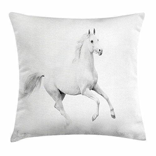 Black and White Decorations Throw Pillow Cushion Cover, White Stallion Running Horse Gallop Motion Speed Equestrian, Decorative Square Accent Pillow Case, 18 X 18 Inches, White Black