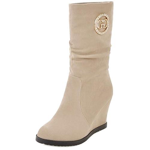CularAcci Mujer Comodo Tacon De Cuna Slouch Botas: Amazon.es: Zapatos y complementos