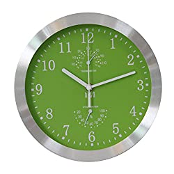 HITO Silent Non-ticking Wall Clock- Aluminum Frame Glass Cover, 10 inches (Green)