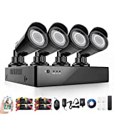 Rraycom 4CH Security Camera System 1080H DVR with 4x 2000TVL Superior Night Vision IR Cut Leds indoor/outdoor CCTV Camera(Without Hard Drive)
