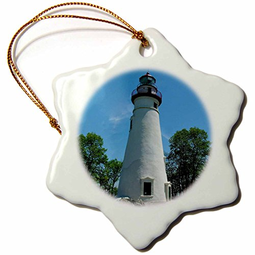 3dRose orn_61708_1 Marblehead Lighthouse Looking Over Lake Erie-Snowflake Ornament, Porcelain, ()