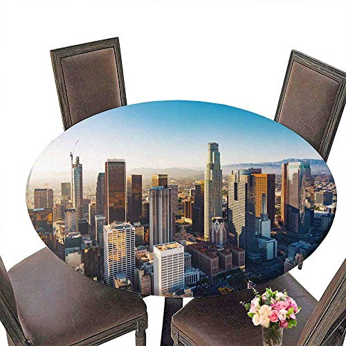 PINAFORE Circular Table Cover Aerial View of a Downtown Los Angeles at Sun for Wedding/Banquet 31.5