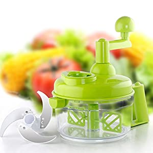 Tenta Kitchen 3.2-Cup/800ml Hand Crank Food Processor/Manual Food Chopper/Meat Grinder/Vegetable Dicer And Mincer/Fruit Blender With Egg Separator