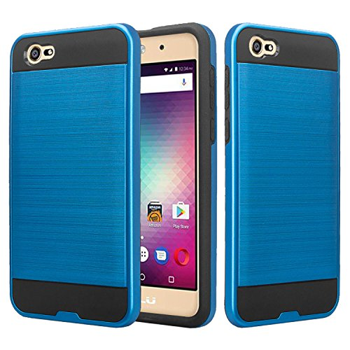 BLU A5 Energy Case, SOGA Shockproof Absorption Anti-Scratch Brush Texture Slim Hybrid Armor Protector Phone Cover Compatible for BLU A5 Energy 5.0 (Blue)