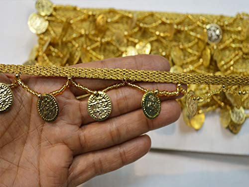 Coin Gold Decorative 1.5 Inch Indian Gypsy Bohemian Wholesale Fringe Trim by 9 Yard Christmas Supplies Home Decor Embellishments Crafting Ribbon for Fancy Dresses