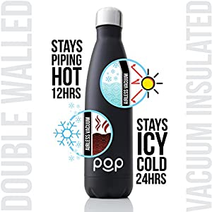 Water Bottle by POP Design | Keeps Cold 24hrs. or Hot for 12hrs. | Stainless Steel Vacuum Insulated | Sweat & Leak-Proof | Narrow Mouth & BPA Free | 25 Oz (740ml) | Onyx
