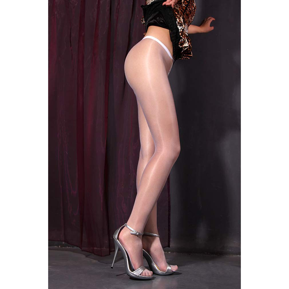 8bfc3cccd Galleon - 1 DDLIN Sexy Glitter Shimmer Control Top Pantyhose Shiny Silky  Sheer Glossy Tights (White)
