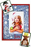 Snowmen Christmas Slate Picture Frame, 4'' X 6'' - INCLUDES FREE - ''Reindeer Plush Picture Frame AND Snowman Plush Picture Frame''