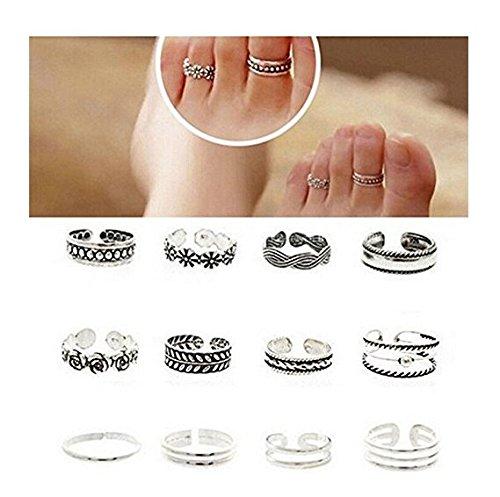 Saengthong 12PCs/set Celebrity Women Fashion Simple Toe Ring Adjustable Foot Beach Jewelry