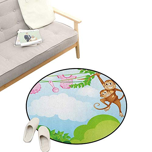 """Nursery Round Rug Living RoomArt Deco ,Monkey Swinging with The Kid Baby Clothes Chimpanzee Jungle Joy Togetherness, Playroom Super Soft Carpet Floor Mat 23"""" inch Green Brown Pink"""