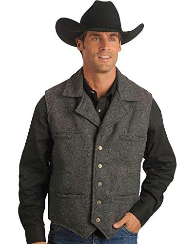 Schaefer Outfitter Men's Cattle Baron Wool Blend Vest Charcoal Grey Large