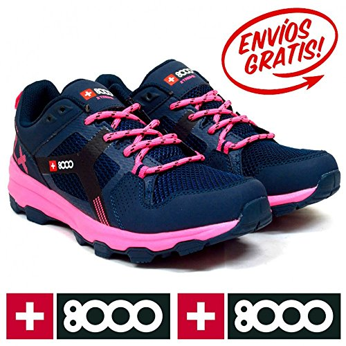 + 8000trilen W–Botas de senderismo de la mujer Navy Blue/Pink