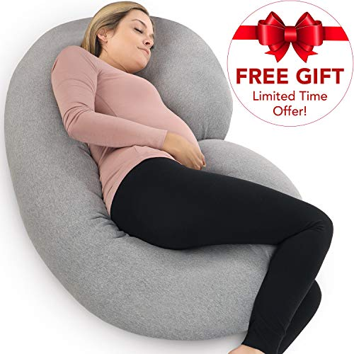 PharMeDoc Pregnancy Pillow with Jersey Cover, C Shaped Full Body Pillow - Available in Grey, Blue, Pink, Mint Green (New My Foam For Cushions Couch)