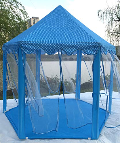 Hexagon Castle Play Tent with Aluminum Alloy Columns and Plain Sheers and 33ft 100 LED Diodes AA Battery Powered Brass Wire Lights (Blue)