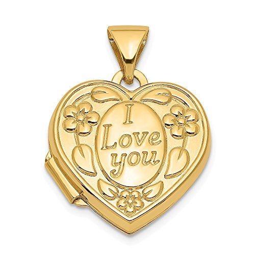 14k Yellow Gold I Love You Heart Photo Pendant Charm Locket Chain Necklace That Holds Pictures Fine Jewelry Gifts For Women For Her