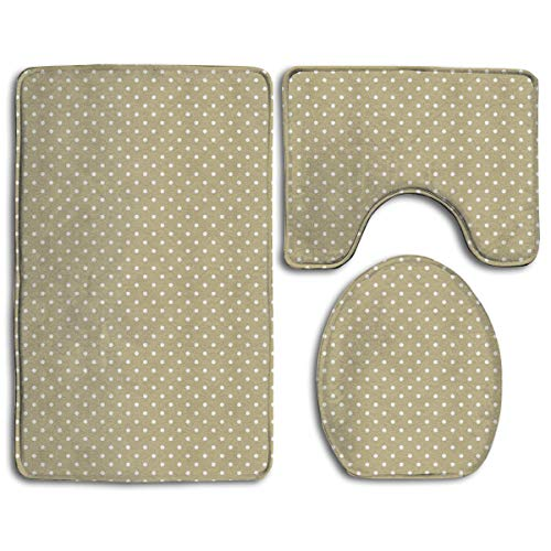 CCBUTBA Bathroom Rug Mats Set 3 Piece Pin Dot Khaki Extra Soft Bath Rugs (20