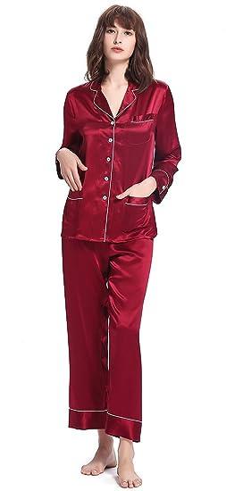 3f85c2af16 LILYSILK Women s Silk Pyjamas Long Ladies Pajamas V Neck Trimmed 100% 22  Momme Pure Mulberry