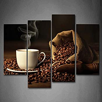 First Wall Art   Brown A Cup Of Coffee And Coffee Bean. Wall Art Painting