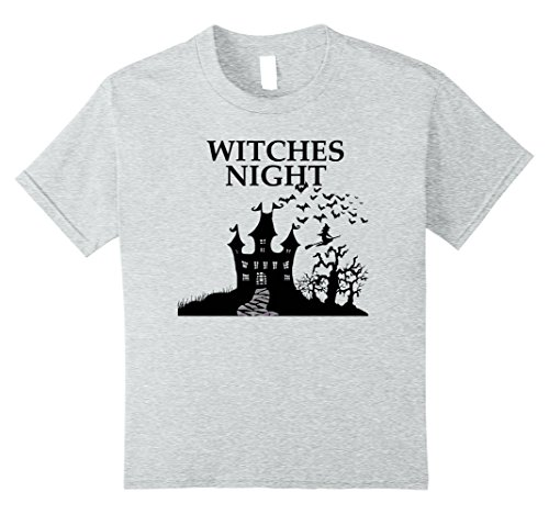Kids New 2017 Halloween Witches Night T-Shirt 10 Heather Grey (Halloween Horror Nights 2017 Theme)
