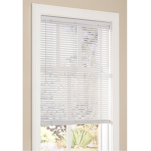"Lumino Vinyl Mini Blinds 1 Inch Cordless Room Darkening in White - 23"" W x 64"" H (Over 250 Add"
