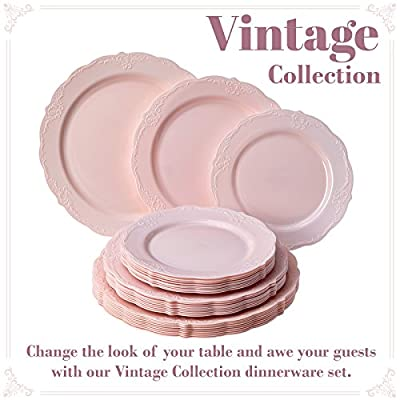 Party Disposable 30 pc Dinnerware Set | 10 Dinner Plates | 10 Salad Plates | 10 Dessert Plates | Heavyweight Plastic Dishes | Elegant Fine China Look | for Upscale Wedding and Dining