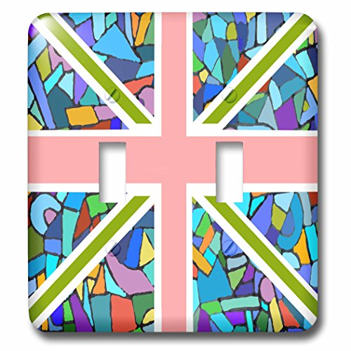 3dRose Lsp_58320_2 - Interruptor doble con diseño de mosaico y bandera inglesa de Reino Unido, Inglaterra, diseño...