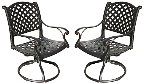luminum Swivel Rocker Dining Chair with Seat Cushion, Set of 2, Antique Bronze Finish (Aluminum Outdoor Dining Chair)