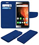 Acm Leather Flip Wallet Case for Micromax Canvas 6 E485 Mobile Cover Blue
