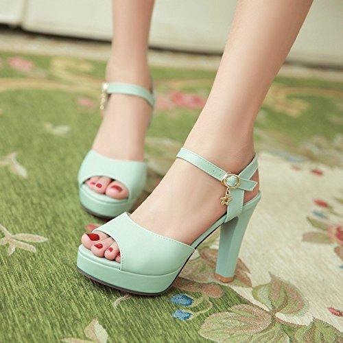 Moda Mujer verano sandalias confortables tacones altos,39 beige Blue