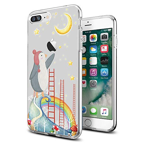 Cocomong Cute Penguin Animal with Rainbow Clear iPhone Case for iPhone 8 Plus/iPhone 7 Plus Moon and Star Designer for Women Girls Men