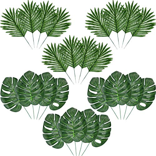 Hicarer Palm Leaves Fake Tropical Leaf Artificial Leaves Decoration Fake Monstera Tropical Leaves (24 Pieces, Color Set 2)]()