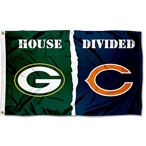 Green Bay Packers and Chicago Bears House Divided Flag (Green Bay Chicago Bears)