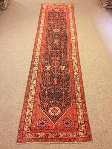 3.4x13.7 Feet Orange And Dark Blue Narrow Rug Runner Ethnic Rug Runner Vintage Aisle Rug Corridor Rug Hallway Carpet.Code:P607