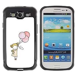 Suave TPU GEL Carcasa Funda Silicona Blando Estuche Caso de protección (para) Samsung Galaxy S3 III I9300 / CECELL Phone case / / little girl balloon art white mother mom /