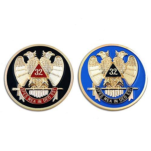 (Masonic Scottish Rite 32nd Degree Double Headed Eagle Set of 2 Car Auto Emblems - 3
