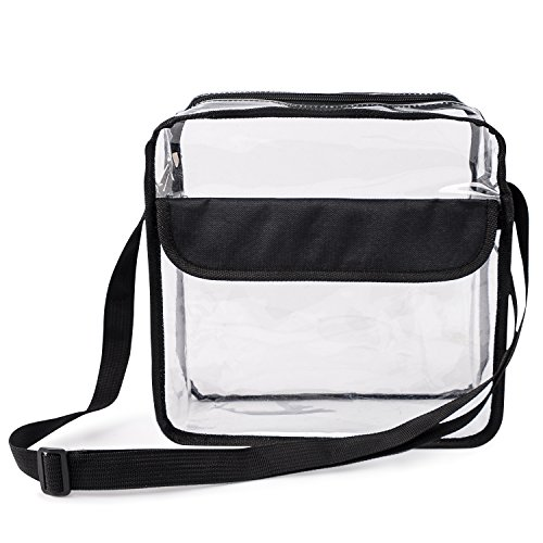 Premium Clear NFL Stadium Approved Messenger Bag with Front Pocket, Great for Travel & Disney by Wicked Clear Bags