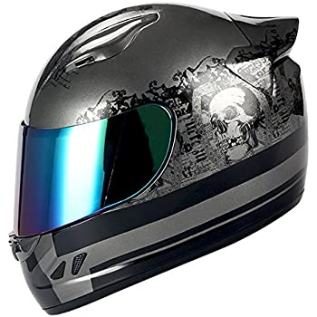 1STORM MOTORCYCLE BIKE FULL FACE HELMET MECHANIC Matt Black Silver Skull