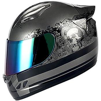 1STORM MOTORCYCLE BIKE FULL FACE HELMET MECHANIC Matt Black Silver Skull