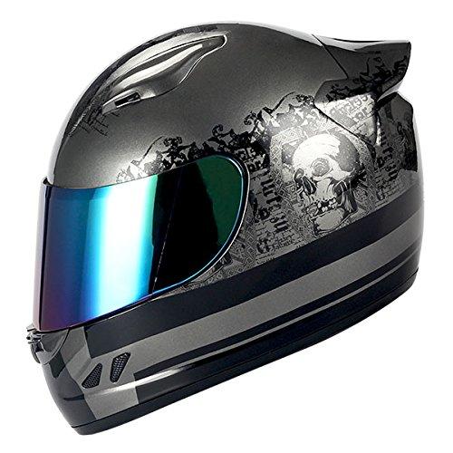 (1STORM MOTORCYCLE BIKE FULL FACE HELMET MECHANIC Matt Black Silver Skull)