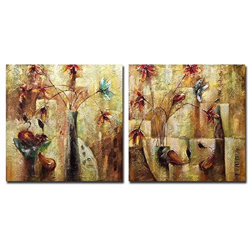 Boiee Art,24x24Inch 2Piece 100% Hand Painted Flower in Vase on Canvas Still Life Artwork Vintage Abstract Oil Paintings Modern Home Decor Wall Art Wood Inside Framed Ready to Hang